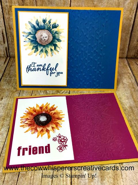 Card, Painted Harvest, Petal Paire Embossing Folder