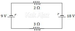 Rangkaian listrik dengan 2 sumber arus yang berlawanan, arus yang mengalir