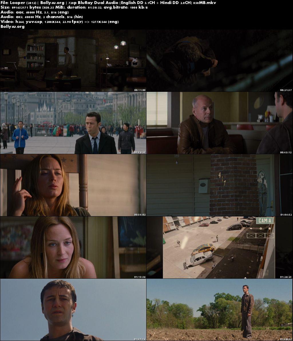 Looper 2012 BluRay 400MB Hindi Dubbed Dual Audio 480p Download