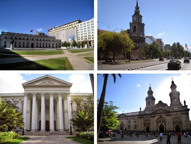 De izquierda a derecha, de arriba a abajo: Palacio de la Moneda, Iglesia de San Francisco, ex Congreso Nacional y la Catedral de Santiago