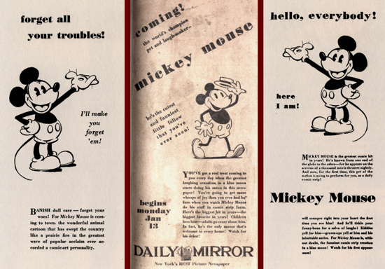 Mickey Mouse comic strips launch advertising