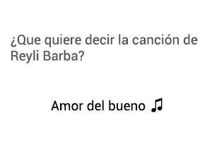 Significado de la canción Amor Del Bueno Reyli Barba.