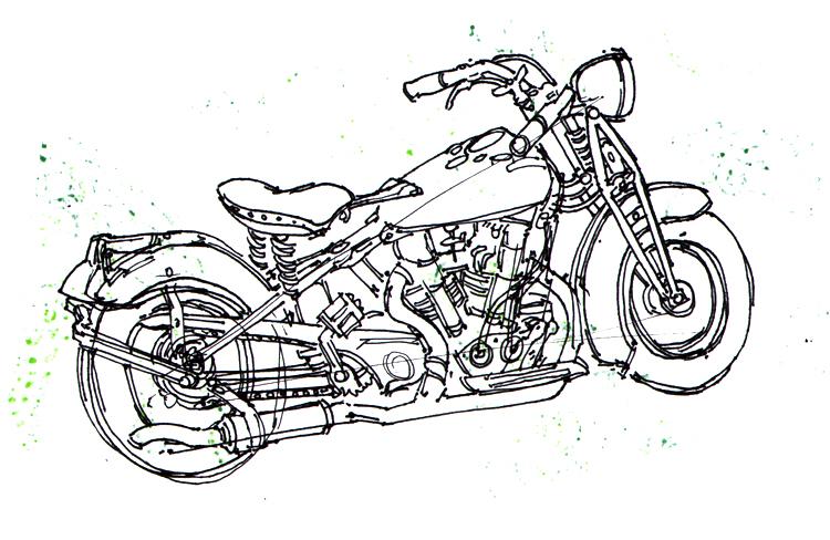 Ben Jelter Art: Two birds, one motorcycle