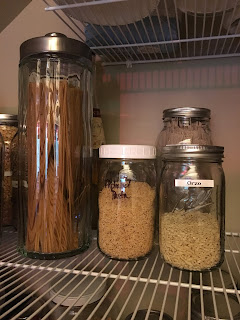 Jars of dried pasta from zero waste vegan pantry https://trimazing.com