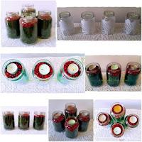 decoração de natal com potes de vidros usados
