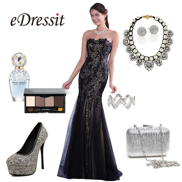 Like fashion edressit timeless black evening dress for Jewelry accessories for black dress