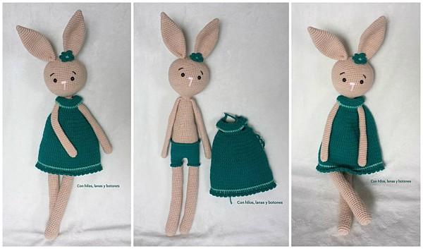 Con hilos, lanas y botones: Rita la conejita amigurumi