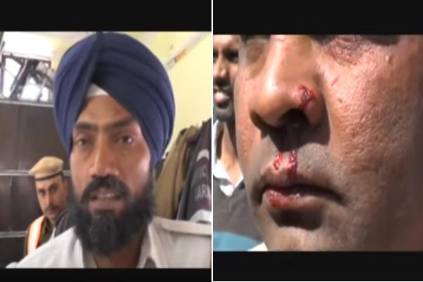 VIDEO: पुलिस ने बीजेपी नेता को पीटा