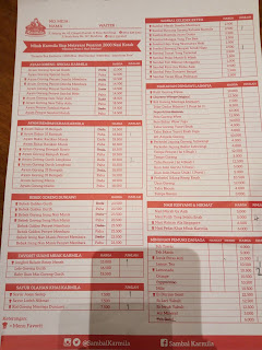 Daftar menu dan daftar harga wisata kuliner sambal khas karmila