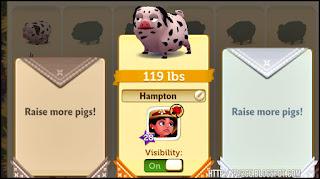 FarmVille 2: Country Escape, envelopes, pig named Hampton, green button
