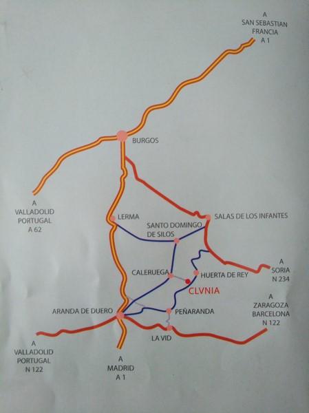 Mapa de carreteras para llegar a Clunia y Peñaranda de Duero
