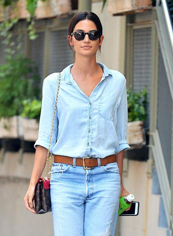 Lily Aldridge Does Double Denim