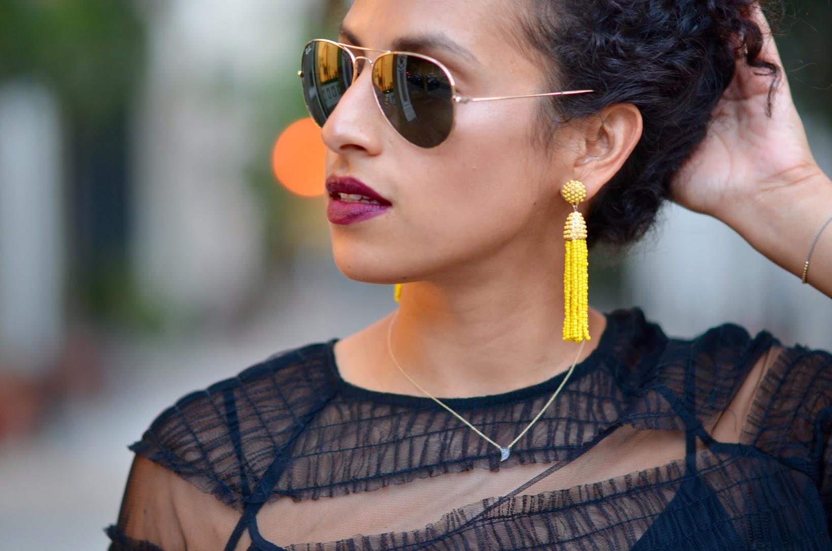Zara tulle top, all black, chic hallowee syle, Coach stud pumps, BabuleBar Piñata earrings, tulle zara top, romantic ruffle top, Sf street style