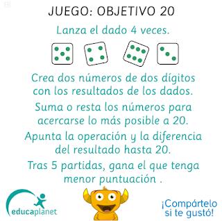 juego matematicas sumas y restas con dados objetivo 20