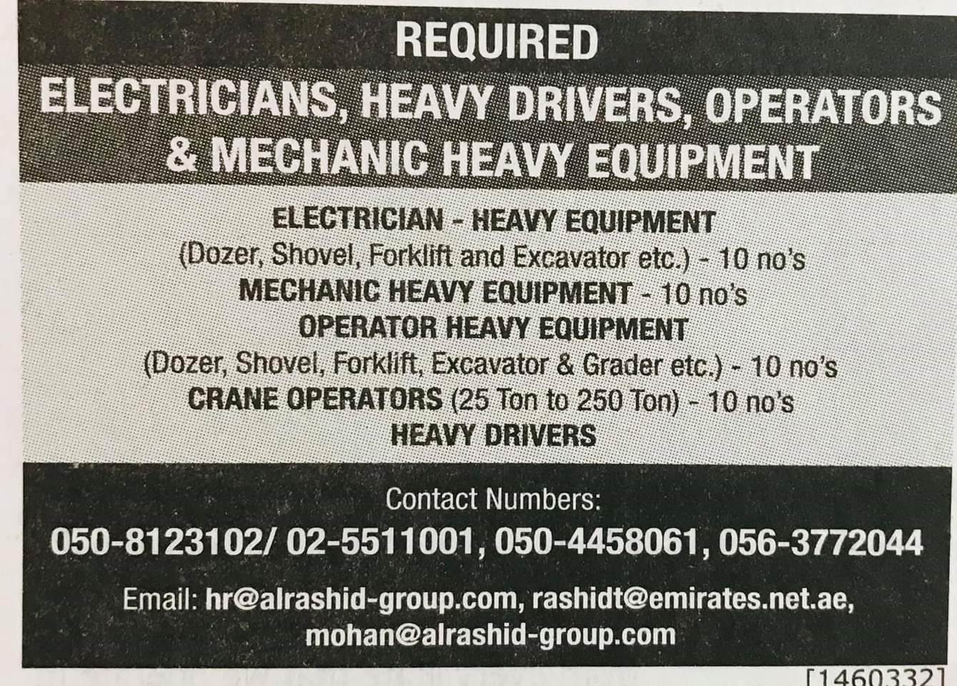 Required Electricains,Heavy Drivers,Operators & Mechanic for