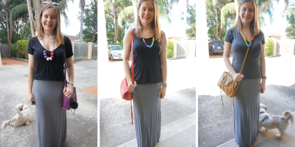 3 monochromatic outfit ideas with grey jersey maxi skirt | awayfromtheblue