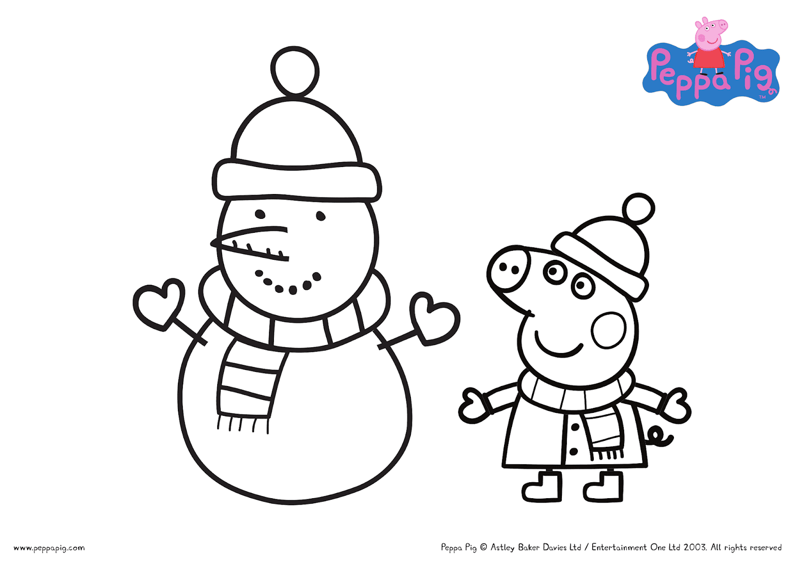 Christmas with Peppa Pig FREE Printable Coloring Sheets