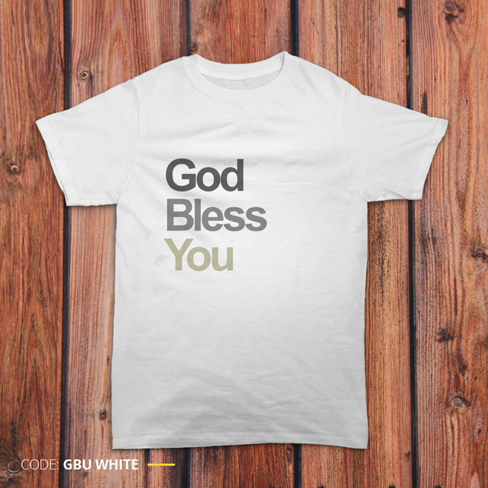 Gambar kaos 'God Bless You' warna putih
