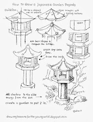 pagoda japanese garden drawing draw drawings worksheets worksheet artist lessons young painting basic easy pencil sketch sketches gate gardens getdrawings