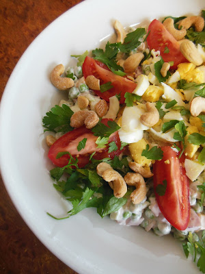 Winter Pea Salad with Tomatoes and Cashews, winter salads are delicious!