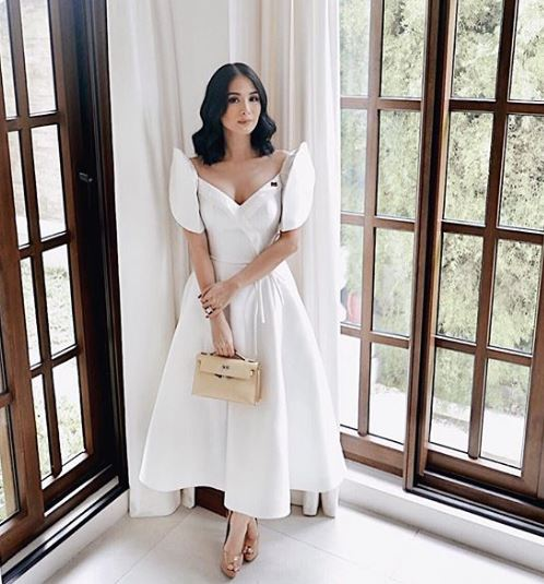 Heart Evangelista in white modern Filipiniana