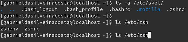 Arquivos de configuração do Zsh no Fedora.