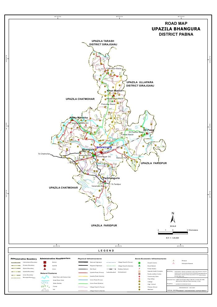 Bhangura Upazila Road Map Pabna District Bangladesh