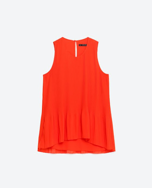 Spring/Summer Capsule Wardrobe: Five Tops for Play from Honey and Smoke Studio // Asymmetric Pleated Top in coral from Zara