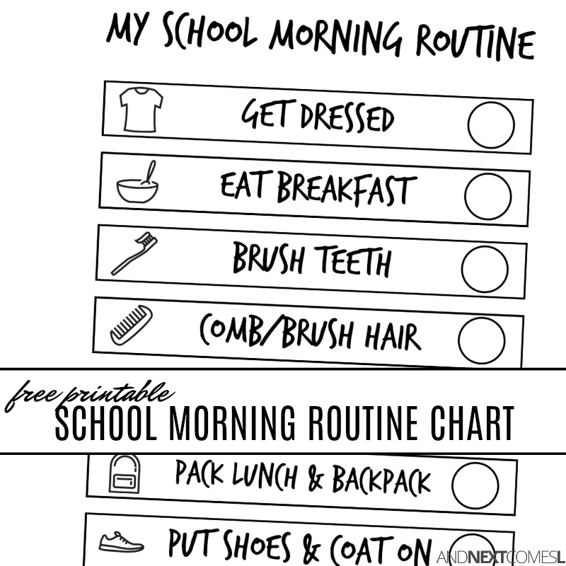 photo relating to Morning Routine Printable named Absolutely free Printable College or university Early morning Visible Program Chart for Little ones