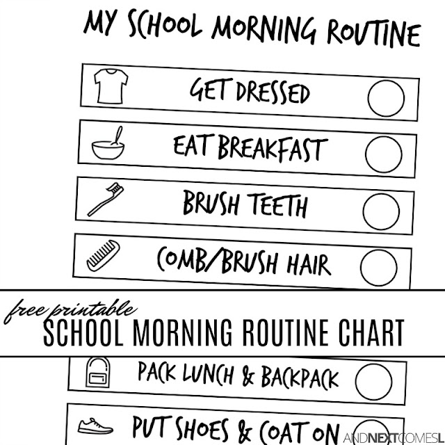 Free printable school morning routine chart for kids