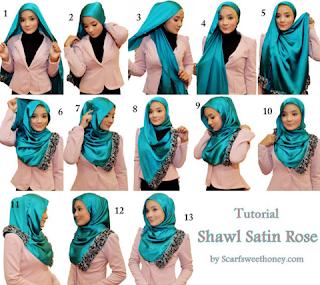 Aneka Tutorial Cara Memakai hijab Modern Bahan Satin