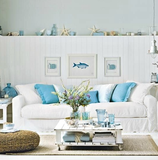 Aqua and white coastal living room