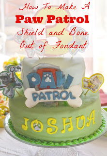 Paw Patrol shield and bone fondant tutorial