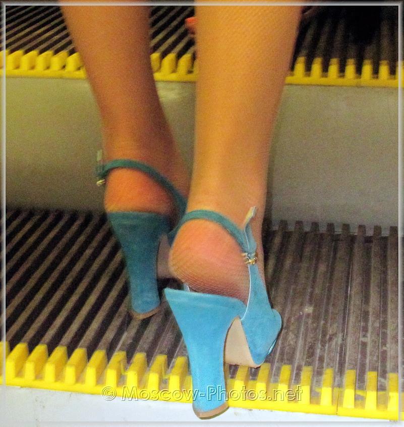 Blue high-heeled shoes
