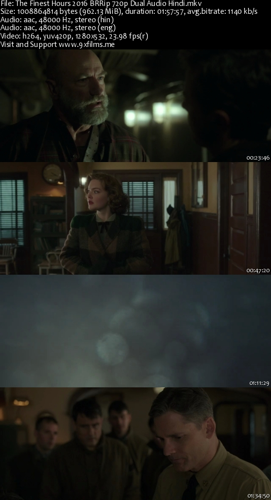 The Finest Hours 2016 BRRip 720p Dual Audio Hindi 900MB