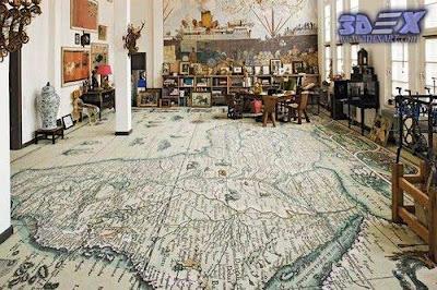 world map decor, world map flooring, 3d floor art for interior design