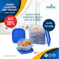 Dusdusan Azalea Snack Container Square (Set of 3) Blue ANDHIMIND