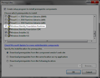 Add Windows Identity Foundation as a custom prerequisite in