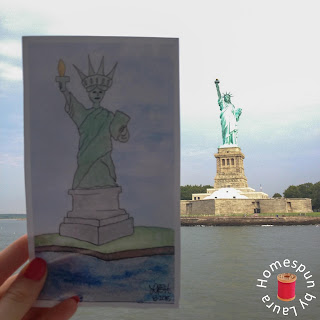 watercolor painting of Statue of Liberty in NYC