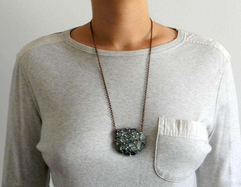 Agate pendant - OOAK agate necklace - Boho jewelry - freeform beadwork