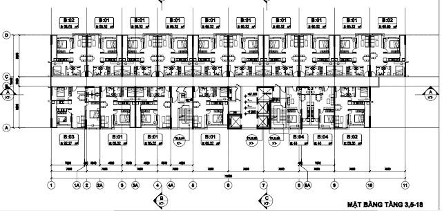 Sơ đồ mặt bằng thiết kế tòa T2 chung cư B1.3 Thanh Hà