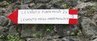 Cinque Terre trail sign, Levanto.