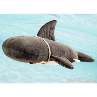 Flat Shark plush stuffed animal by Flat Bonnie - swimming