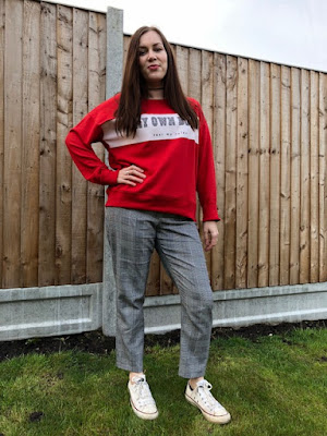 OOTD, Pull and Bear, Boss Jumper, ASOS, ss18, fbloggers, Check Trousers, Slogan Jumper,