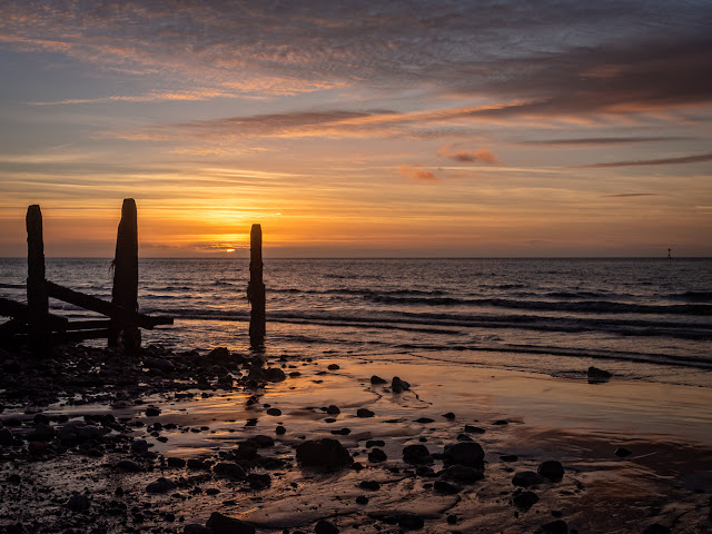 Photo of Tuesday's sunset on the shore at Maryport