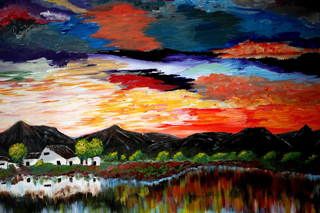 Amazing Sunset - acrylic painting by danie van wyk