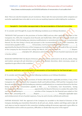 resolution for ratification of remuneration of cost auditor