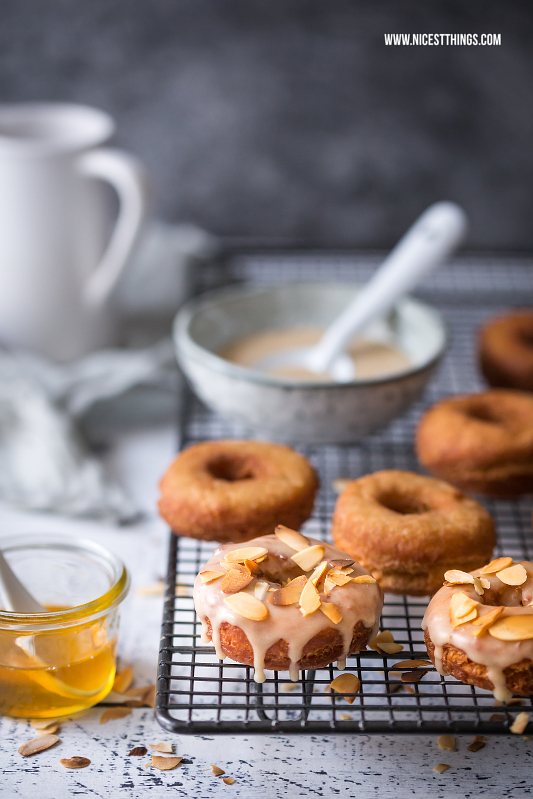 Honey Caramel Donuts with Honey Glaze and Roasted Almonds