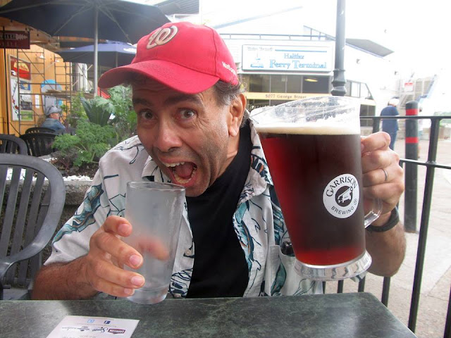 Lenny Campello with a pitcher of Garrison Beer in Halifax, Nova Scotia, Canada