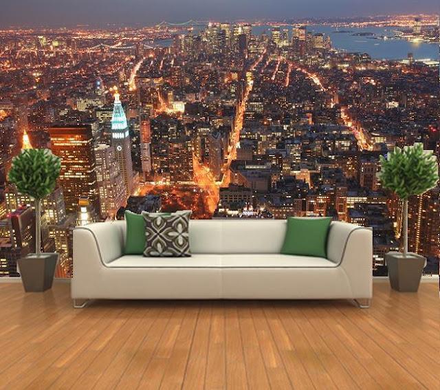 new york tapet fototapet new york natt utsikt stad fondtapet vardagsrum